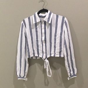 Long sleeve white and blue stripe button down